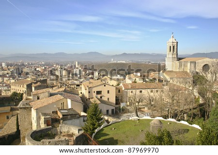 Aerial view of the Girona and his great Cathedral.