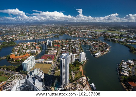 Aerial view of the Gold Coast hinterland, Queensland, Australia - stock photo
