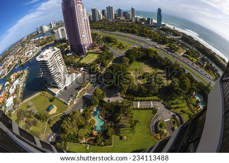 Aerial view of the Gold Coast (Surfers Paradise), Australia - stock photo