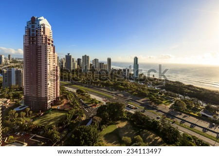 Aerial view of the Gold Coast (Surfers Paradise), Australia
