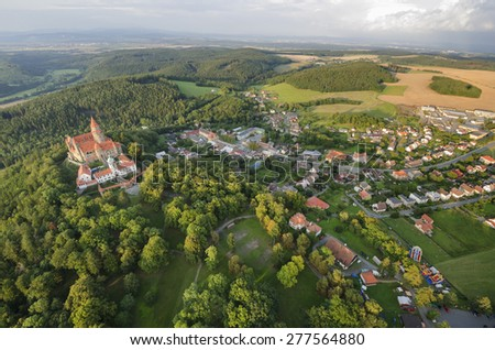 Aerial view of the gothic castle and village Bouzov, Czech Republic - stock photo