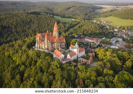 Aerial view of the gothic castle Bouzov, Czech Republic - stock photo