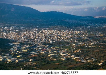 aerial view of the greek capital athens taken from a plane