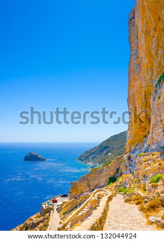 Aerial view of the  gulf under Hozoviotissa monastery in Amorgos island in Greece