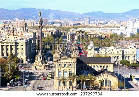 Aerial view of the Harbor district with Columbus colomn and Ramblas in Barcelona, Spain - stock photo