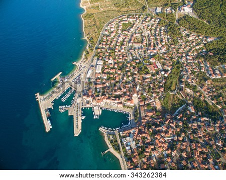 Aerial view of the harbour of Supetar, on the island of Brac, Croatia. - stock photo