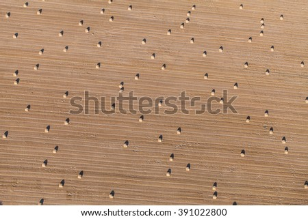 aerial view of the  harvest field in Poland in summer - stock photo