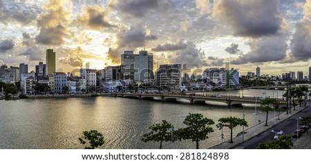 Aerial view of the historic architecture of Recife in Pernambuco, Brazil at sunset by the Capibaribe rived. - stock photo