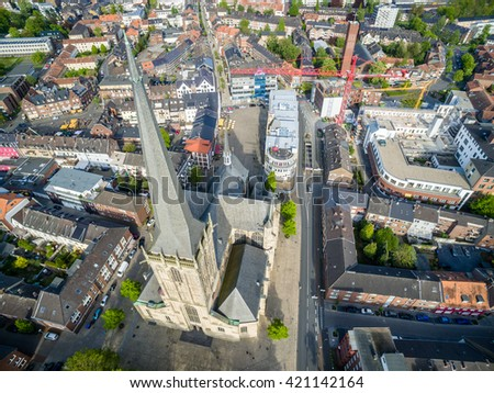 Aerial view of the historic historic WIlli Brodi dome in Wesel, Germany