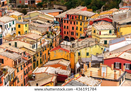 Aerial view of the houses in Vernazza (Vulnetia), a small town in province of La Spezia, Liguria, Italy. It's one of the lands of Cinque Terre, UNESCO World Heritage Site - stock photo