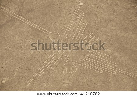 Aerial View of The Hummingbird Geoglyph at the Nazca Lines in Peru