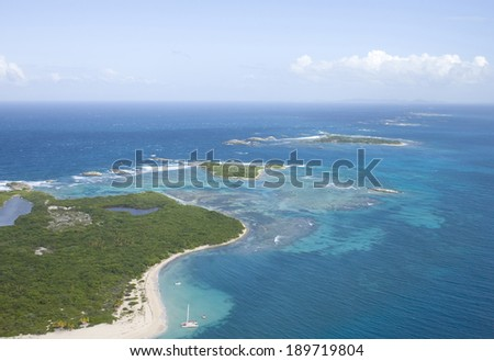 Aerial view of the Icacos and Lobos Island Puerto Rico.   - stock photo