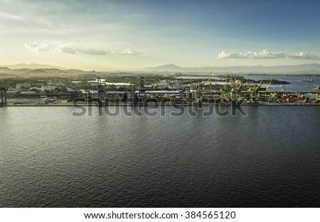 Aerial view of the industrial area with cranes by the ocean, Rio de Janeiro, Brazil