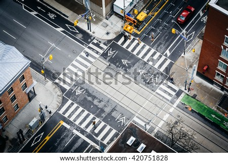 Aerial view of the intersection of Simcoe Street and Adelaide Street, in downtown Toronto, Ontario. - stock photo
