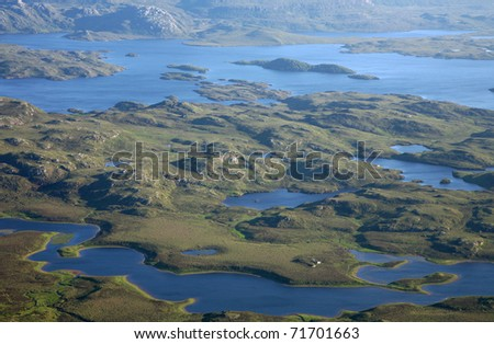 Aerial view of the inverpolly nature reserve in northern Scotland. - stock photo