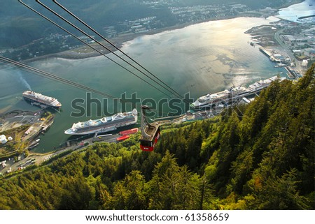 Aerial view of the Juneau, Alaska waterfront and cruise ship dock as seen from the Mount Roberts Tramway.