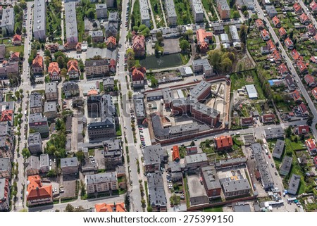 aerial view of  the Klodzko city center in Poland