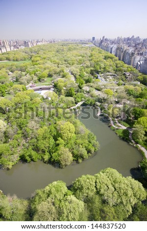 Aerial view of The Lake in Central Park in Manhattan, New York City, NY - stock photo
