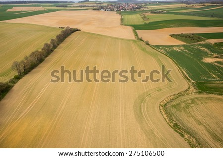 Aerial view of the large green field - stock photo