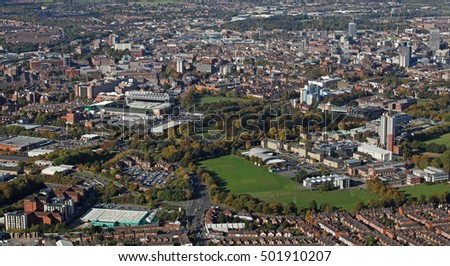 aerial view of the Leicester skyline, UK