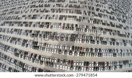 Aerial view of the lot of cars near the Avtoframos company. - stock photo