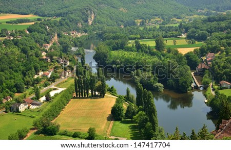 Aerial view of the Lot river in France as seen from Saint Cirq Lapopie