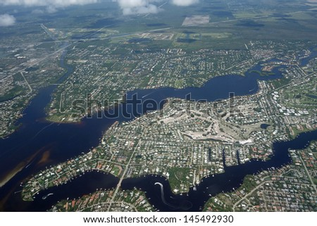 Aerial view of the Loxahatchee River in Tequesta, Florida - stock photo