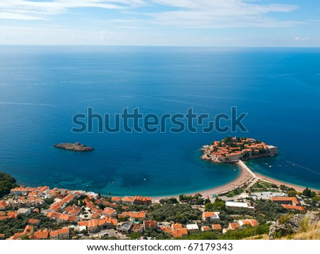 Aerial view of the Luxiry Hotel made from Sveti-Stefan island in Montenegro - stock photo
