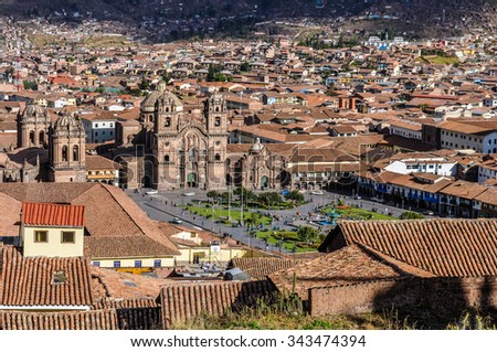 Aerial view of the main square in the capital of Incas, Cusco, Peru - stock photo