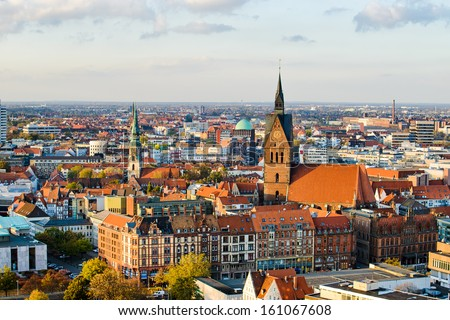 Aerial view of the Marktkirche and Hannover City, Germany - stock photo