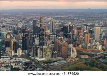 Aerial view of the Melbourne, Australia central business district at sunrise. - stock photo
