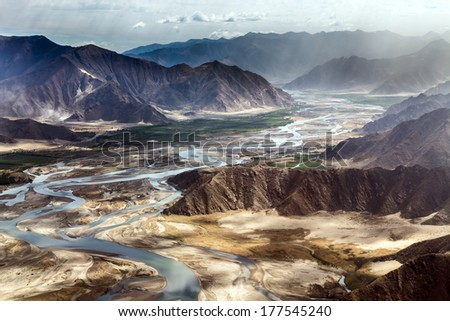 aerial view of the Mountain around Lhasa Gonggar Airport, Tibet, China - stock photo