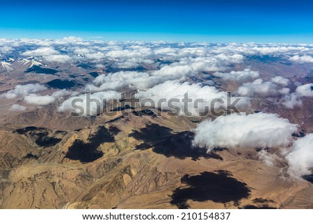 Aerial view of the mountain part of the Himalayas in Ladakh, India