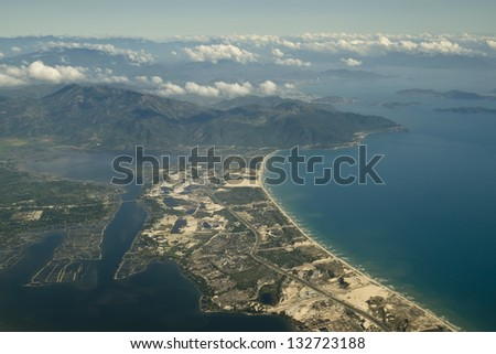 Aerial view of the mountains and islands, Vietnam. - stock photo