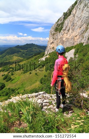 Aerial view of the mountains and valleys as seen by a climber - stock photo
