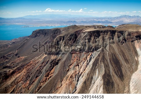 Aerial view of the mountains next to Lake Mead - stock photo
