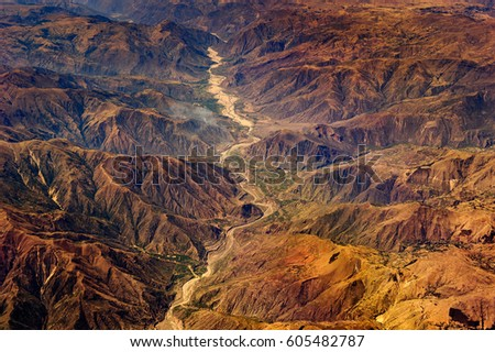 Aerial view of the mountains of Peru