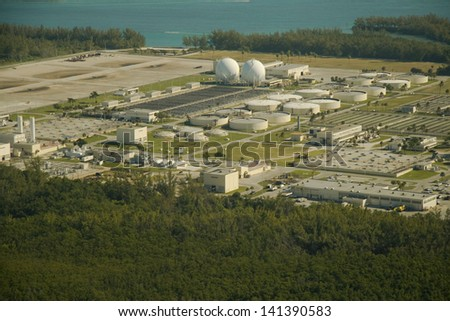Aerial view of the Municipal wastewater treatment plant in Miami, Florida.