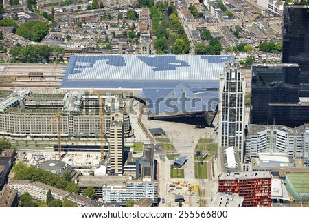 Aerial view of the new Central Station in the city of Rotterdam, province of Zuid-Holland, the Netherlands. - stock photo