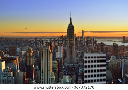Aerial view of the New York City at sunset. - stock photo