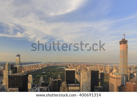Aerial view of the New York City skyline during sunset time