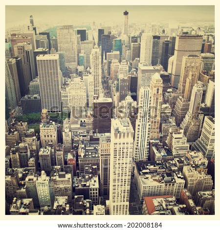 Aerial view of the New York City Skyline with instagram style filter - stock photo