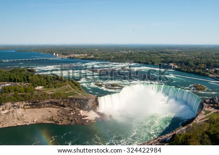 Aerial view of the Niagara Falls.  - stock photo