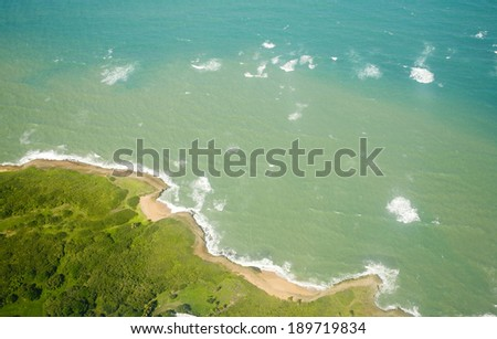 Aerial view of the North coast edge of  Puerto Rico.   - stock photo