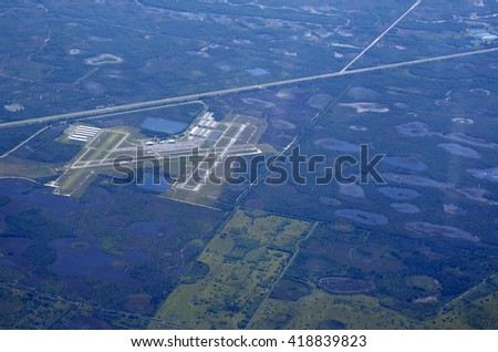 Aerial view of the North County Airport near West Palm Beach, Florida, just off the Beeline Highway.