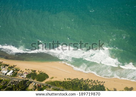 Aerial view of the Northeast side of Puerto Rico.   - stock photo