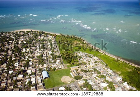 Aerial view of the Northeast side of Puerto Rico.  Shown is the area North of Las Carreras and not far from  Rio Grande and East of Loiza. - stock photo