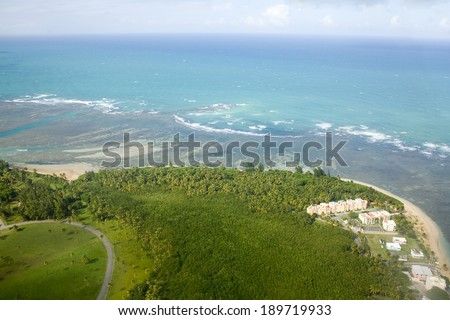 Aerial view of the Northeast side of Puerto Rico.  Shown is the area North of Rio Grande and East of Loiza.