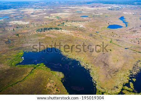 Aerial view of the Okavango Delta in Botswana, Africa - stock photo
