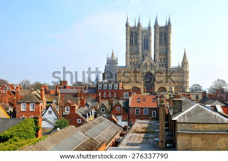 Aerial view of the old city of Lincoln, a cathedral city and the county town of Lincolnshire, within the East Midlands of England - stock photo